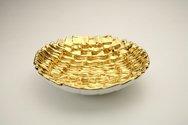 Ciotola in ceramica foggiata a rettangoli, finitura oro