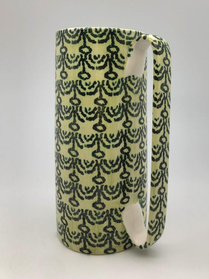 Brocca Serlio in ceramica tornita a mano decoro a spugna motivo coroncine