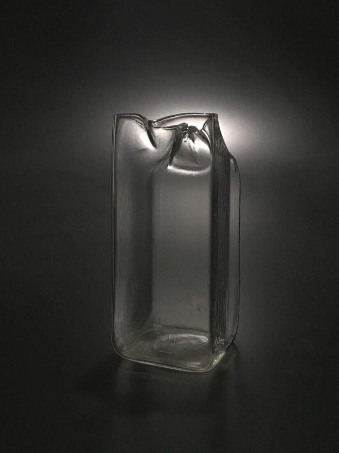 Bricco del latte in vetro soffiato e lavorato a mano mezzo litro vetro trasparente