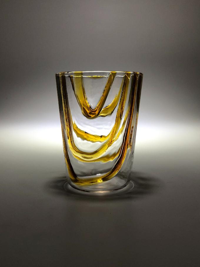Bicchiere in vetro soffiato e lavorato a mano Lava