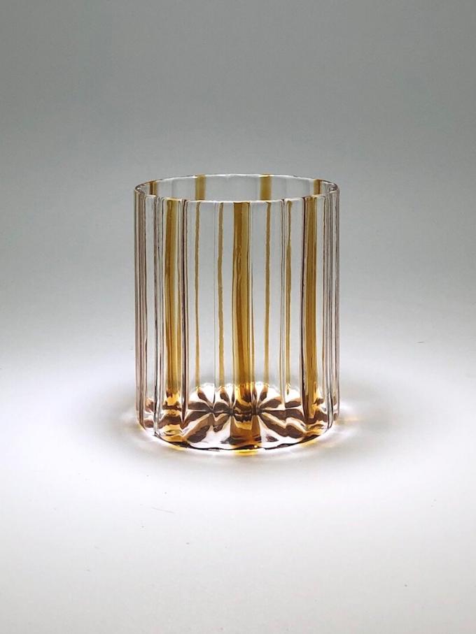 Bicchiere Loos vetro soffiato e righe ambra