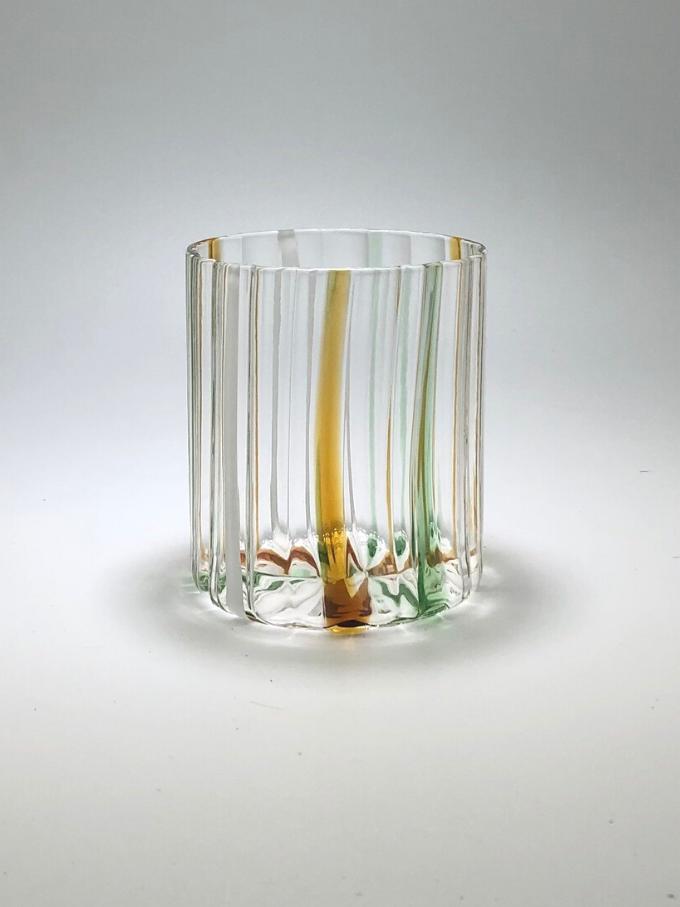 Bicchiere Loos in vetro soffiato e lavorato a mano decorato con vetro multicolor