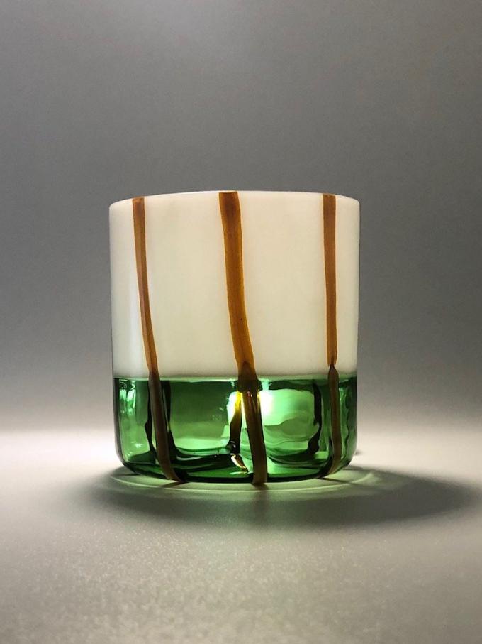 Bicchiere in vetro soffiato Mezzo & Milk verde e bianco